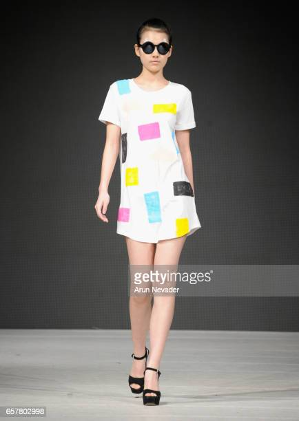 A model walks the runway wearing Kim Legler at Vancouver Fashion Week Fall/Winter 2017 at Chinese Cultural Centre of Greater Vancouver on March 25...