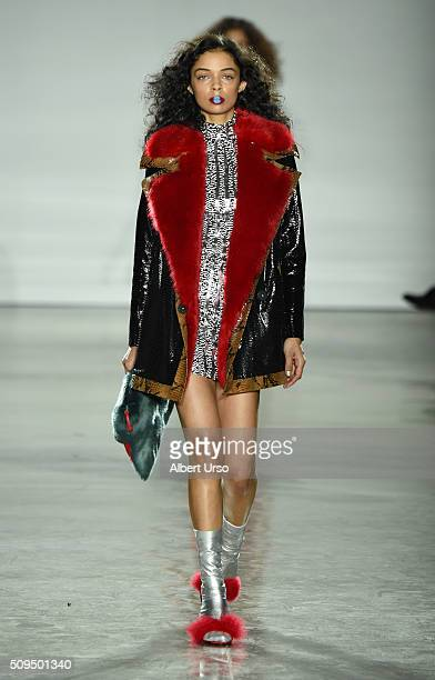 A model walks the runway wearing Kim Shui at the VFILES show during Fall 2016 New York Fashion Week at Spring Studios on February 10 2016 in New York...