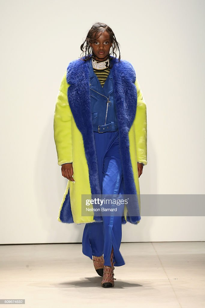 A model walks the runway wearing Kye Fall 2016 during New York Fashion Week: The Shows at The Gallery, Skylight at Clarkson Square on February 11, 2016 in New York City.