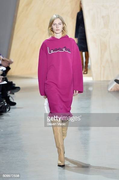 A model walks the runway wearing Lacoste Fall 2016 during New York Fashion Week at Spring Studios on February 13 2016 in New York City