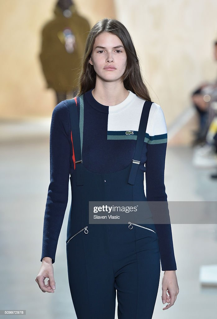 A model walks the runway wearing Lacoste Fall 2016 during New York Fashion Week at Spring Studios on February 13, 2016 in New York City.