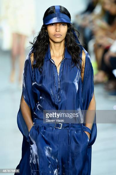A model walks the runway wearing Lacoste Spring 2016 during New York Fashion Week at Spring Studios on September 12 2015 in New York City