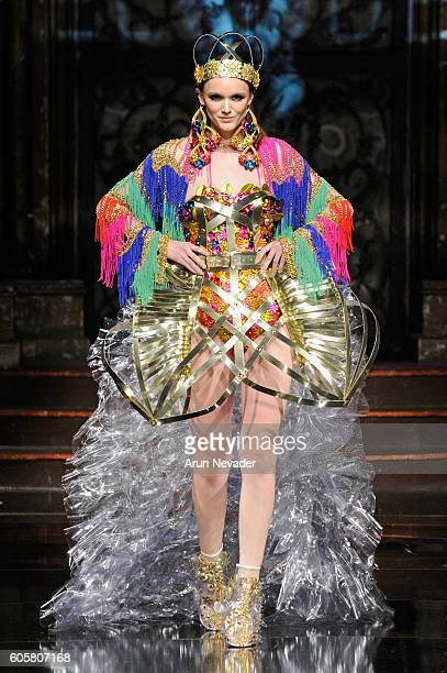 A model walks the runway wearing Laurel Dewitt at Art Hearts Fashion NYFW The Shows presented by AIDS Healthcare Foundation at The Angel Orensanz...