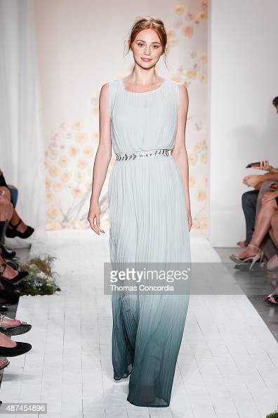 A model walks the runway wearing LC Lauren Conrad Spring 2016 during New York Fashion Week at Skylight Modern on September 9 2015 in New York City