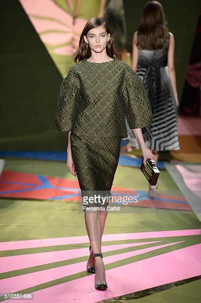 A model walks the runway wearing Lela Rose Fall 2016 during New York Fashion Week The Shows at The Gallery Skylight at Clarkson Sq on February 15...