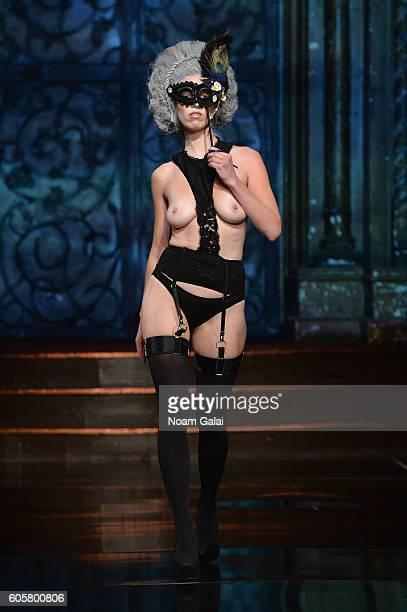 A model walks the runway wearing Liviara at Art Hearts Fashion September 2016 during New York Fashion Week The Shows on September 14 2016 in New York...