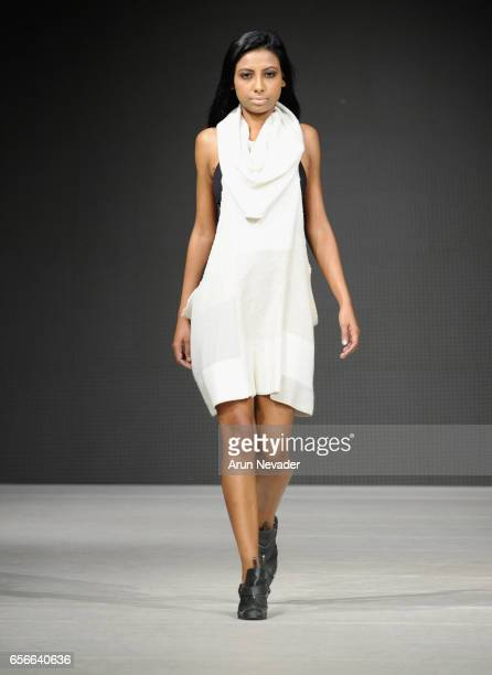 A model walks the runway wearing Lo Life by Lauren Kemp at Vancouver Fashion Week Fall/Winter 2017 at Chinese Cultural Centre of Greater Vancouver on...