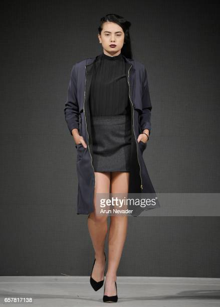 A model walks the runway wearing Maak at Vancouver Fashion Week Fall/Winter 2017 at Chinese Cultural Centre of Greater Vancouver on March 25 2017 in...