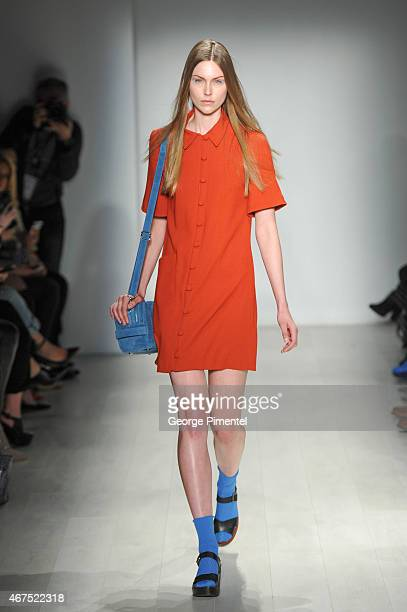 A model walks the runway wearing Malorie Urbanovitch fall 2015 collection during World MasterCard Fashion Week Fall 2015 at David Pecaut Square on...