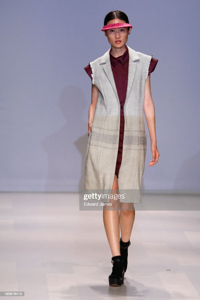 A model walks the runway wearing Matiere Noire during the Mercedes-Benz Startup Finals fashion show at David Pecaut Square on October 22, 2013 in Toronto, Canada.