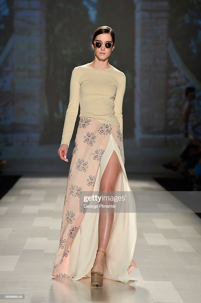 A model walks the runway wearing Matthew Gallagher spring 2014 collection during World MasterCard Fashion Week Spring 2014 at at David Pecaut Square on October 23, 2013 in Toronto, Canada.