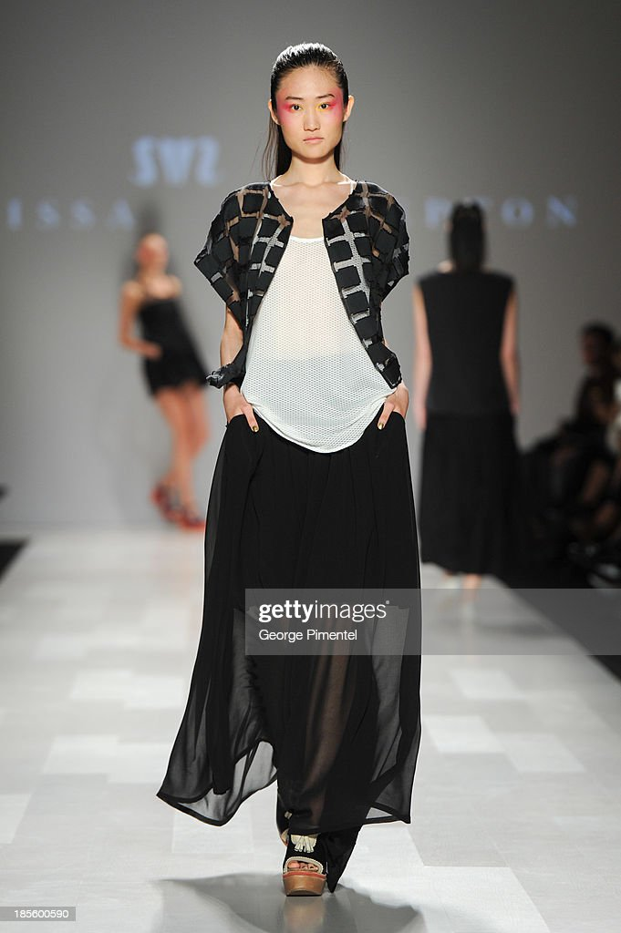 A model walks the runway wearing Melissa Nepton spring 2014 collection during World MasterCard Fashion Week Spring 2014 at David Pecaut Squareat David Pecaut Square on October 22, 2013 in Toronto, Canada.