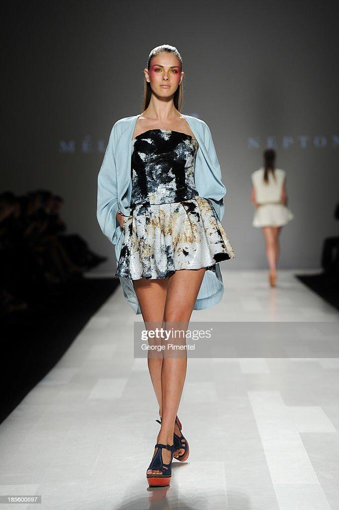 A model walks the runway wearing Melissa Nepton spring 2014 collection during World MasterCard Fashion Week Spring 2014 at David Pecaut Squareat David Pecaut Square on October 22, 2013 in Toronto, Canada.