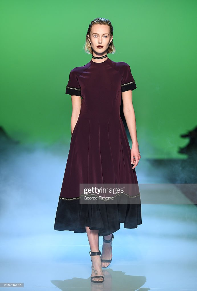 A model walks the runway wearing Mercedes-Benz Start-Up Presents Unttld 2016 collection during Toronto Fashion Week Fall 2016 at David Pecaut Square on March 15, 2016 in Toronto, Canada.