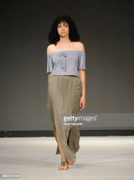 A model walks the runway wearing Meridian at 2017 Vancouver Fashion Week Day 3 on September 20 2017 in Vancouver Canada