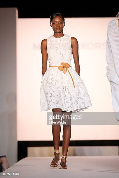 A model walks the runway wearing Michael Kors spring 2015 collection during the Sports Spectacular Luncheon Benefiting CedarsSinai at The Beverly...