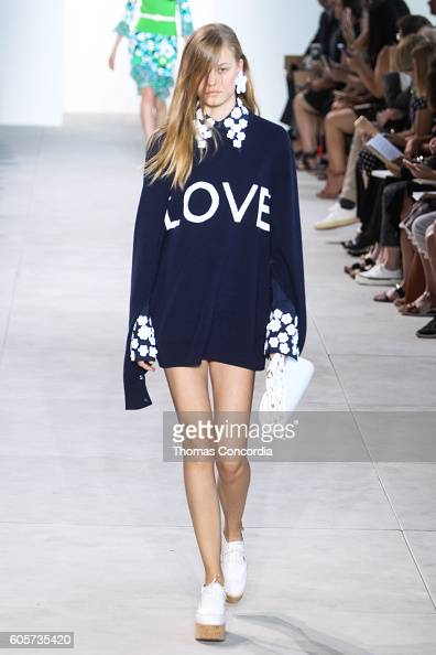A model walks the runway wearing Michael Kors Spring 2017 at Spring Studios during New York Fashion Week on September 14 2016 in New York City