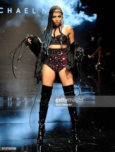 A model walks the runway wearing Michael NGO at Art Hearts Fashion Los Angeles Fashion Week presented by AIDS Healthcare Foundation on October 9 2016...
