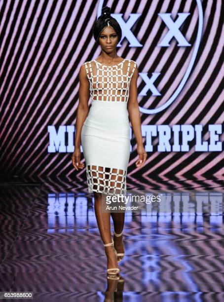 A model walks the runway wearing Mister Triple X at Art Hearts Fashion LAFW Fall/Winter 2017 Day 2 at The Beverly Hilton Hotel on March 15 2017 in...