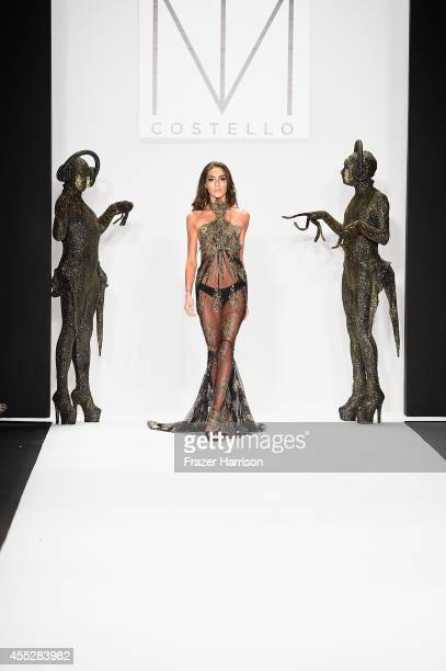 A model walks the runway wearing MT Costello at the Art Hearts fashion show presented by AIDS Healthcare Foundation during MercedesBenz Fashion Week...