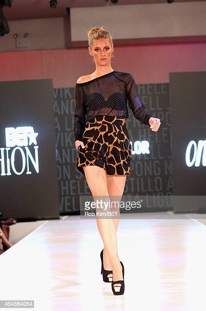 A model walks the runway wearing Natt Taylor during the Fashion Week Kickoff with 'BET On Fashion' presentation at Espace on September 3 2014 in New...