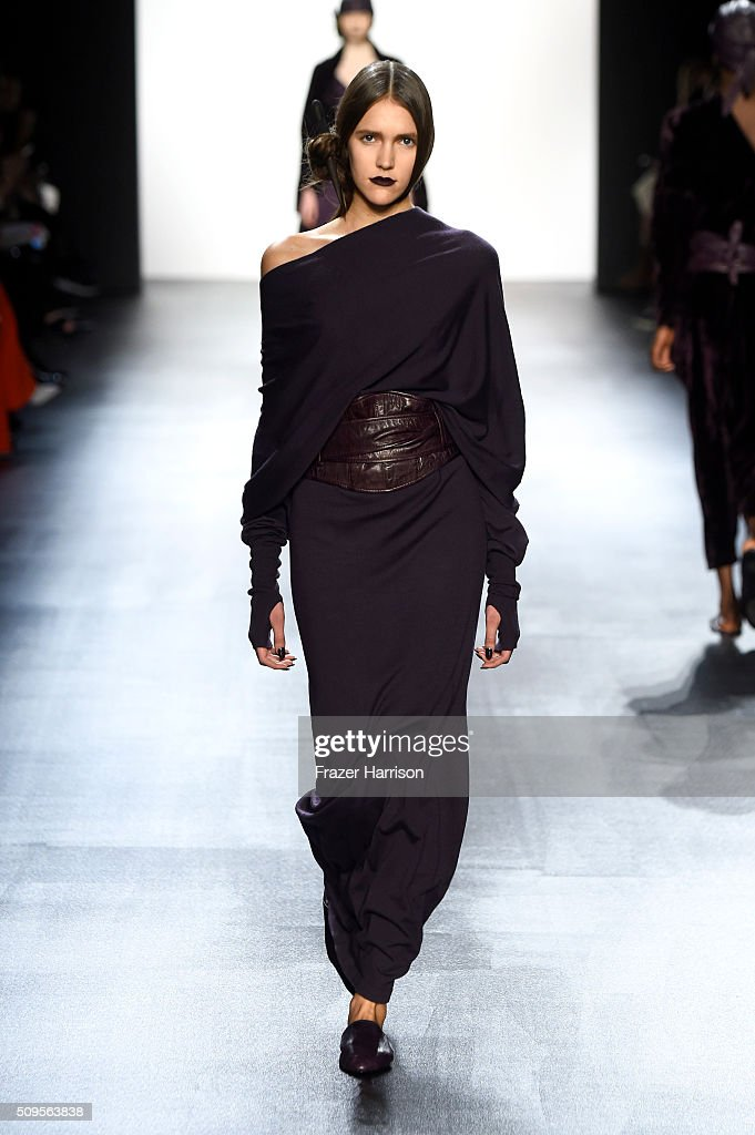 A model walks the runway wearing Nicholas K Fall 2016 during New York Fashion Week: The Shows at The Dock, Skylight at Moynihan Station on February 11, 2016 in New York City.