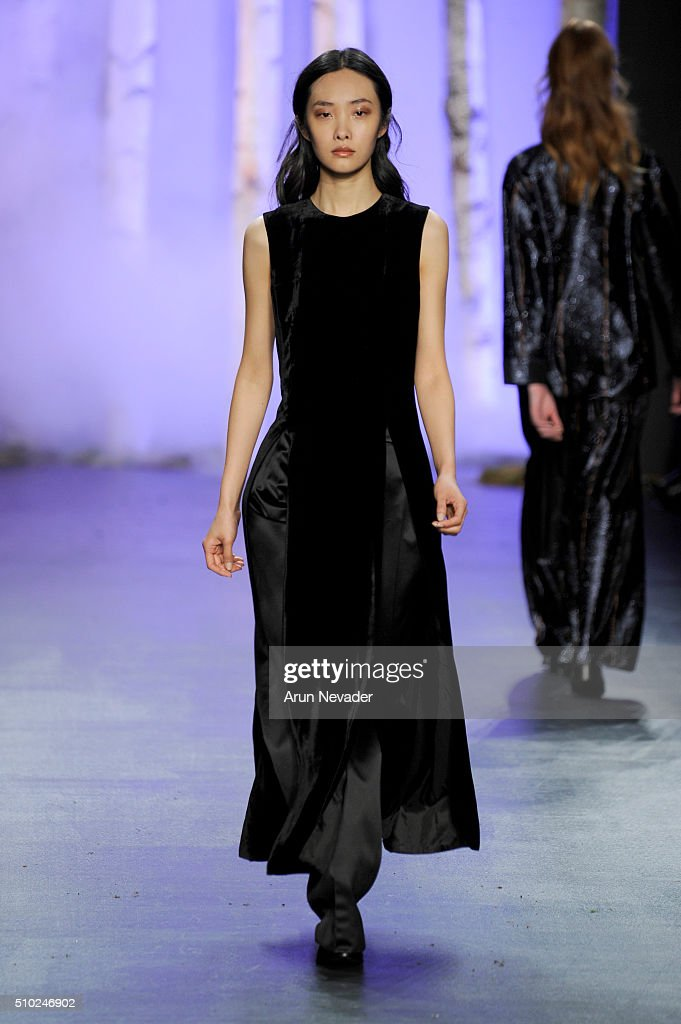 A model walks the runway wearing Noon By Noor Fall 2016 during New York Fashion Week: The Shows at The Dock, Skylight at Moynihan Station on February 14, 2016 in New York City.