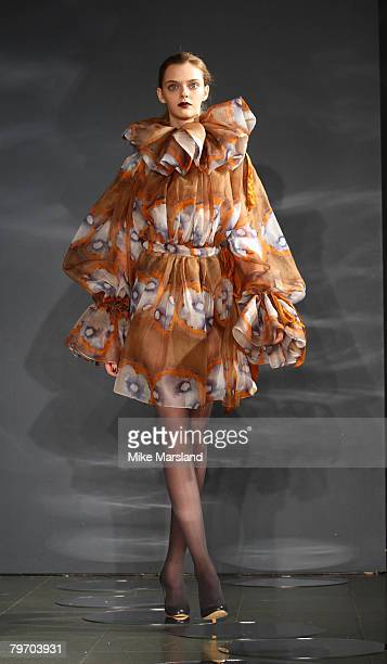 A model walks the runway wearing Ossie Clark Fall/Winter 2008/2009 collection during London Fashion Week February 11 2008 at the Serpentine Gallery...