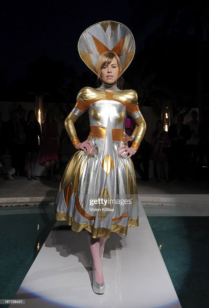 A model walks the runway wearing Pam Hogg at Filmmaker And Genlux Magazine Fashion Editor Amanda Eliasch Hosts BritWeek 2013 Cocktail Party on April 27, 2013 in West Hollywood, California.