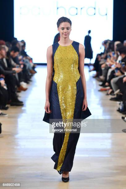 A model walks the runway wearing Paul Hardy Fall/Winter 2017 at Yorkdale Shopping Centre on March 1 2017 in Toronto Canada