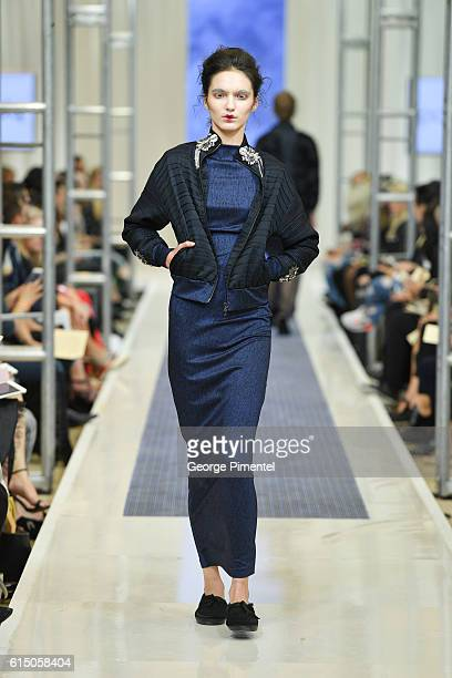 A model walks the runway wearing Paul Hardy RTW Spring 2017 collection during FashionCAN at Yorkdale Shopping Centre on October 16 2016 in Toronto...