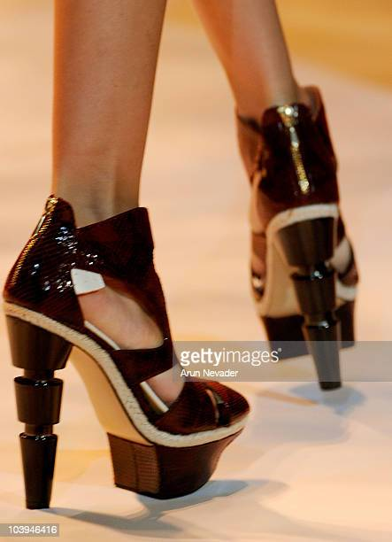A model walks the runway wearing Payless at the Christian Siriano Spring 2011 fashion show during MercedesBenz Fashion Week at The Stage at Lincoln...