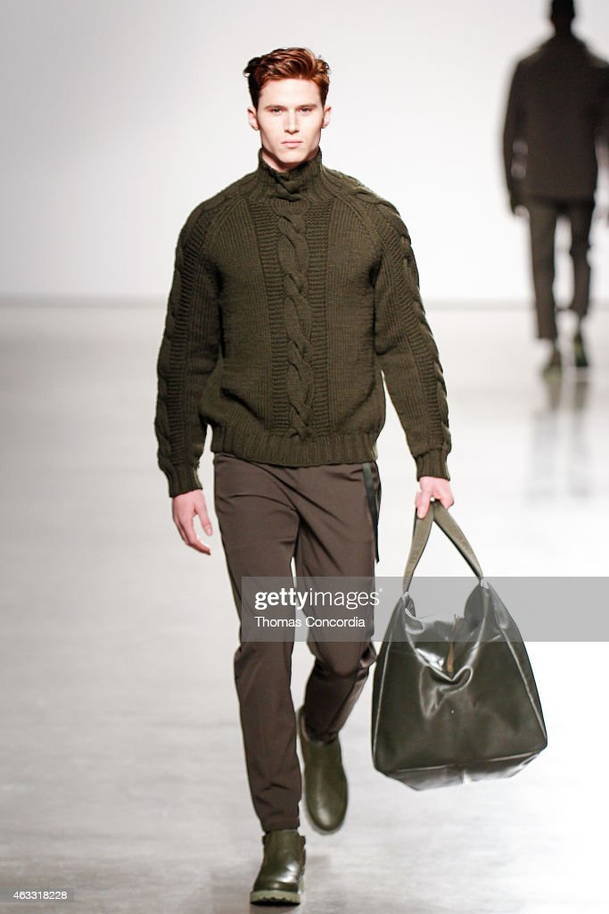 A model walks the runway wearing Perry Ellis Fall 2015 at Metropolitan West on February 12 2015 in New York City