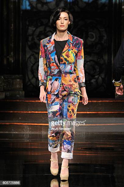A model walks the runway wearing PopImpressKA at Art Hearts Fashion NYFW The Shows presented by AIDS Healthcare Foundation at The Angel Orensanz...