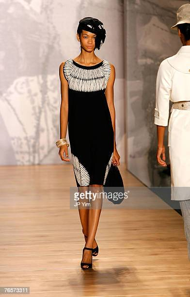 A model walks the runway wearing Ports 1961 during MercedesBenz Fashion Week at the Salon Bryant Park on September 7 2007 in New York City
