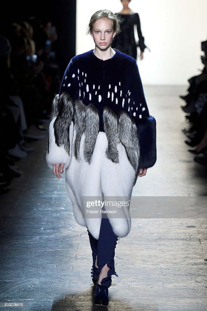A model walks the runway wearing Prabal Gurung Fall 2016 during New York Fashion Week: The Shows at The Arc, Skylight at Moynihan Station on February 14, 2016 in New York City.