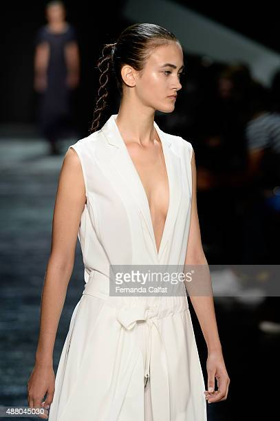 A model walks the runway wearing Public School Spring 2016 during New York Fashion Week The Shows at The Arc Skylight at Moynihan Station on...
