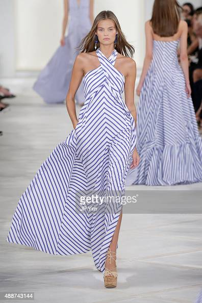 A model walks the runway wearing Ralph Lauren Spring 2016 during New York Fashion Week The Shows at Skylight Clarkson Sq on September 17 2015 in New...