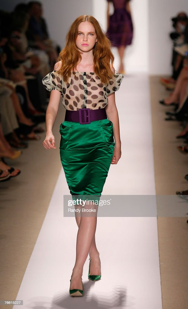 A model walks the runway wearing Reem Acra Spring 2008 during Mercedes-Benz Fashion Week at the Pomenade, Bryant Park on September 9, 2008 in New York City.