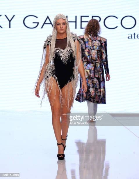 A model walks the runway wearing Rocky Gathercole at Los Angeles Fashion Week SS18 Art Hearts Fashion LAFW on October 5 2017 in Los Angeles California