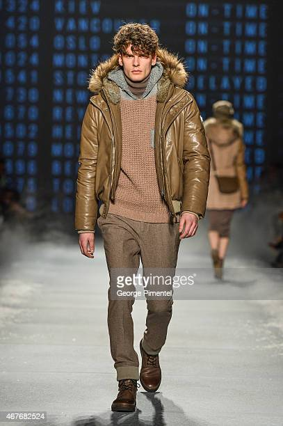 A model walks the runway wearing Rudsak fall 2015 collection during World MasterCard Fashion Week Fall 2015 at David Pecaut Square on March 26 2015...
