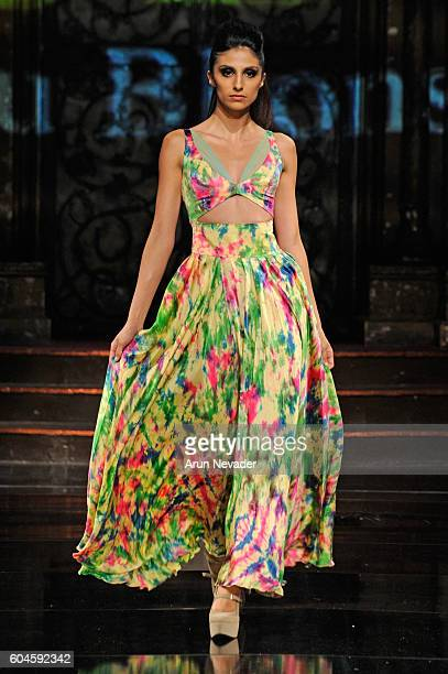 A model walks the runway wearing Rutu Bhonsle' at Art Hearts Fashion NYFW The Shows presented by AIDS Healthcare Foundation at The Angel Orensanz...
