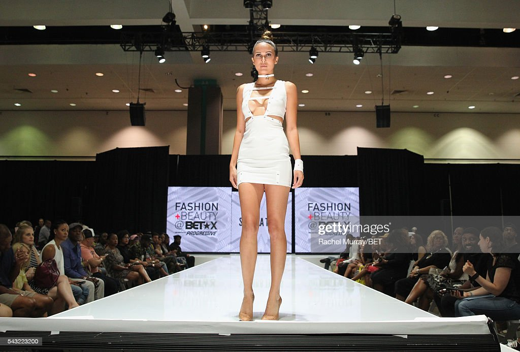 Model walks the runway wearing Sachika at the Fashion & Beauty @ BETX sponsored by Progressive fashion show during the 2016 BET Experience on June 26, 2016 in Los Angeles, California.