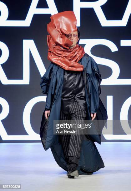 A model walks the runway wearing Sara Armstrong at Vancouver Fashion Week Fall/Winter 2017 at Chinese Cultural Centre of Greater Vancouver on March...