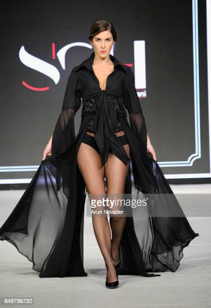 A model walks the runway wearing SGH by Sepideh Ghahremani at the 2017 Vancouver Fashion Week Day 2 on September 19 2017 in Vancouver Canada