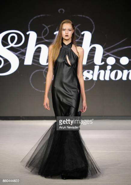 A model walks the runway wearing Shhh Fashions at 2017 Vancouver Fashion Week Day 3 on September 20 2017 in Vancouver Canada