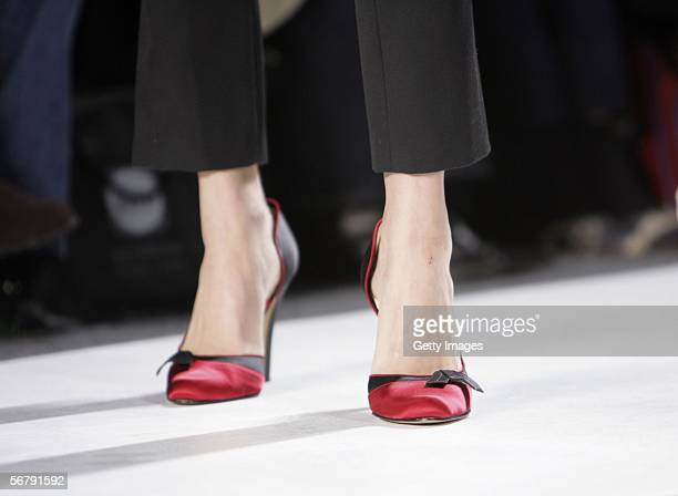 A model walks the runway wearing shoes designed by Abaete designer Laura Poretzky for Payless ShoeSource during the Abaete Fall 2006 show at Olympus...