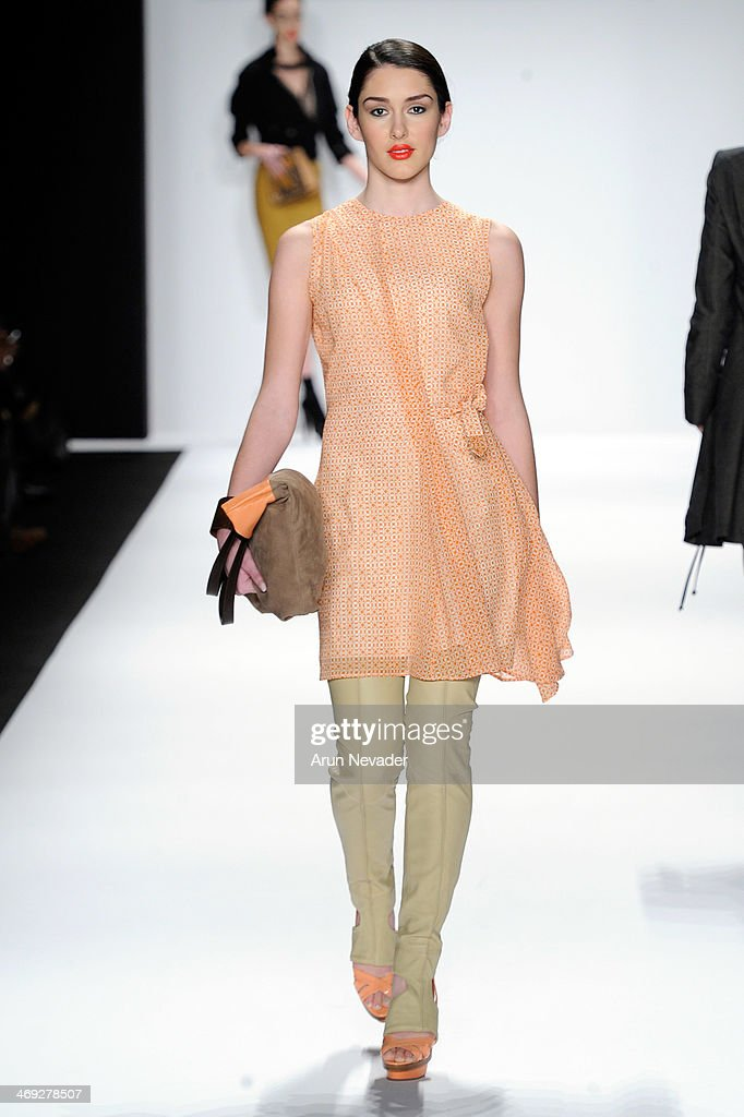 A model walks the runway wearing Silk Skin at the FLT Moda + Art Hearts Fashion show presented by AIDS Healthcare Foundation during Mercedes-Benz Fashion Week Fall 2014 on February 13, 2014 in New York City.
