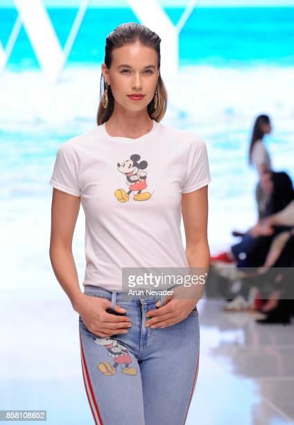 A model walks the runway wearing Siwy Denim at Los Angeles Fashion Week SS18 Art Hearts Fashion LAFW on October 5 2017 in Los Angeles California