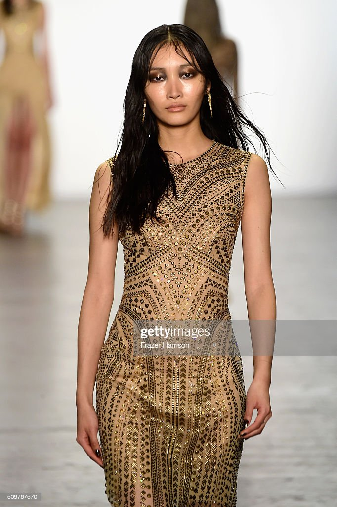 A model walks the runway wearing Tadashi Shoji Fall 2016 during New York Fashion Week: The Shows at The Arc, Skylight at Moynihan Station on February 12, 2016 in New York City.
